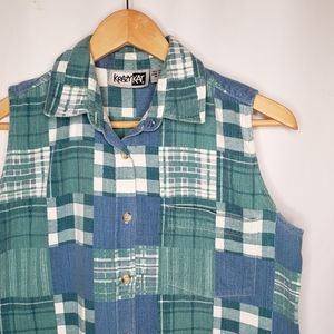 Vintage 90's Krazy Kat Sleeveless Plaid Shirt